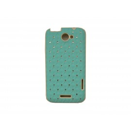 Coque HTC one X mate bleue strass diamants + film protection écran offert