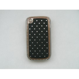 Coque Blackberry 8520 curve noire strass diamants + film protection ecran offert