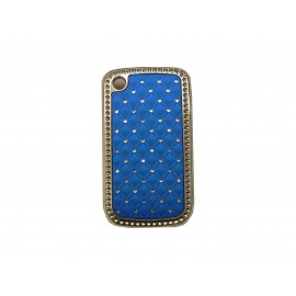 Coque Blackberry 8520 curve bleue strass diamants + film protection ecran offert