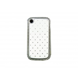 Coque Blackberry 8520 curve blanche strass diamants + film protection ecran offert