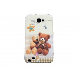 Coque pour Samsung Galaxy Note I9220/N7000 silicone oursons marrons + film protection écran offert