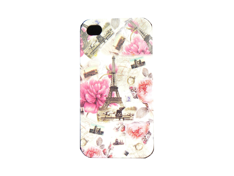 coque pour iphone 4 blanche fleurs roses et tour eiffel + film