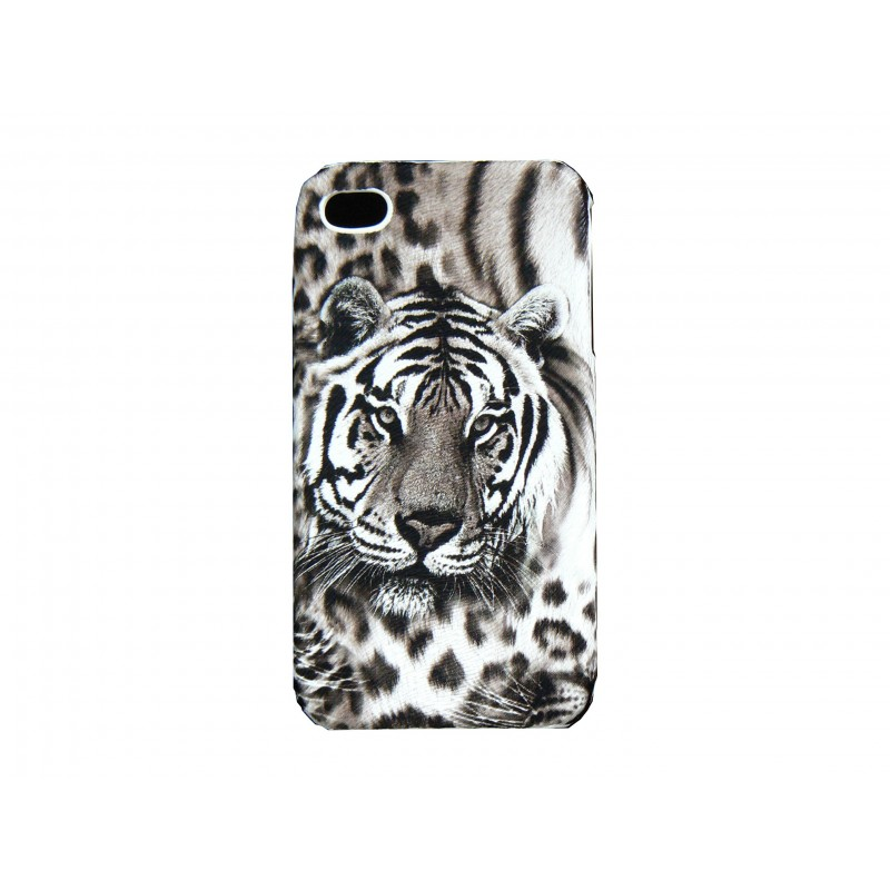 coque pour iphone 4 mate tigre gris film protection. Black Bedroom Furniture Sets. Home Design Ideas