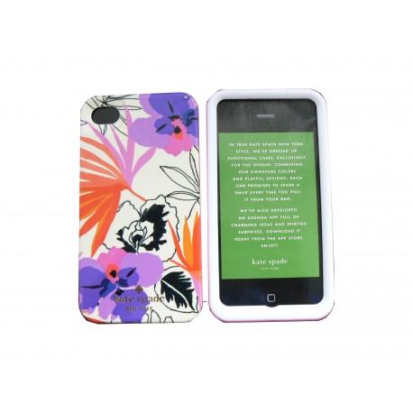 coque pour iphone 4 brillante blanche fleurs violettes en. Black Bedroom Furniture Sets. Home Design Ideas