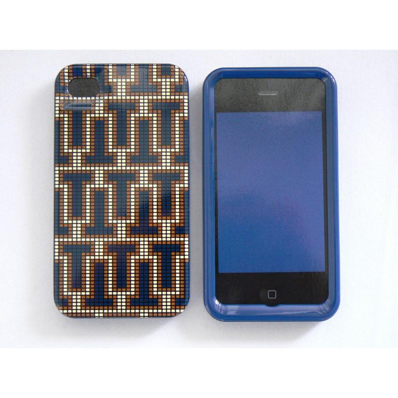 coque pour iphone 4 brillante en 2 parties labyrinthe bleu. Black Bedroom Furniture Sets. Home Design Ideas