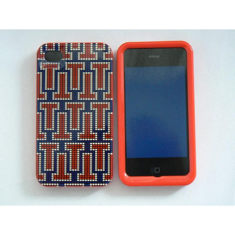coque iphone 4 brillante en 2 parties labyrinthe bleu rouge. Black Bedroom Furniture Sets. Home Design Ideas