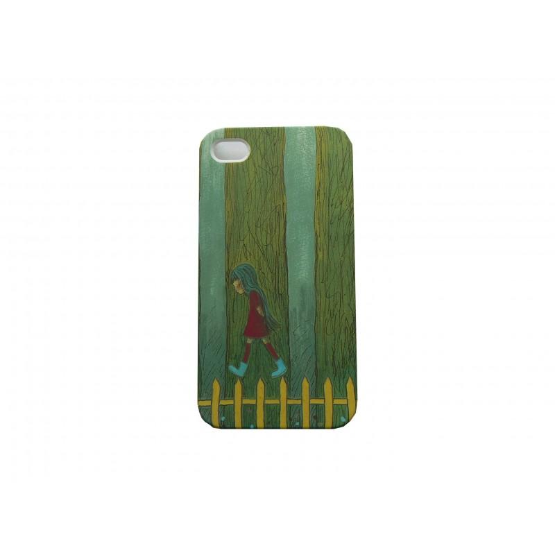 coque pour iphone 4 petite fille sur fond vert film protection cran accueil 2362. Black Bedroom Furniture Sets. Home Design Ideas