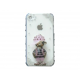 Coque brillante motif petit garcon rose strass diamants Iphone 4 + film protection ecran