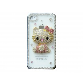 Coque brillante motif chat rose strass diamants pour Iphone 4 + film protection ecran