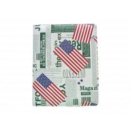 Etui pochette pour Ipad 2 USA impréssion journal vert + film protection écran