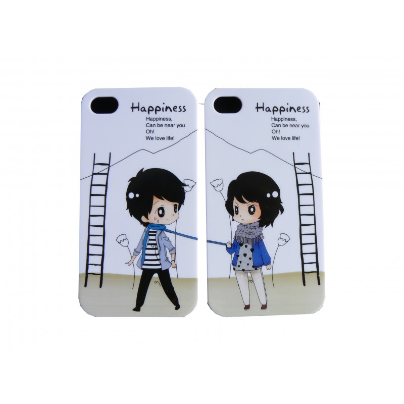 2 coques pour iphone 4 happiness film protection cran. Black Bedroom Furniture Sets. Home Design Ideas