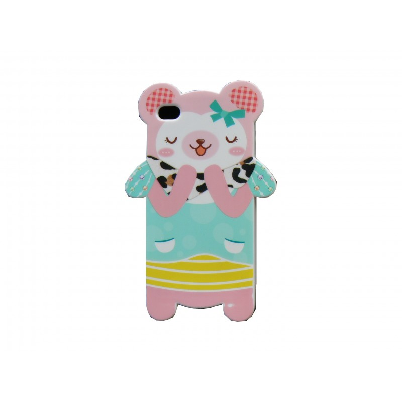 coque pour iphone 4 silicone ourson rose n ud bleu film. Black Bedroom Furniture Sets. Home Design Ideas
