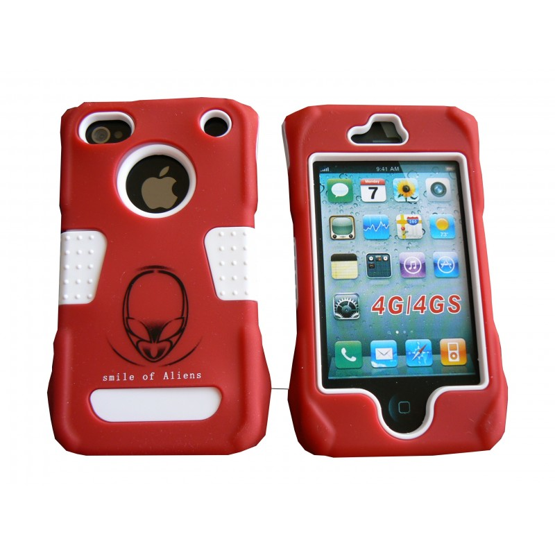 coque de protection rouge int grale rigide et incassable pour iphone 4. Black Bedroom Furniture Sets. Home Design Ideas