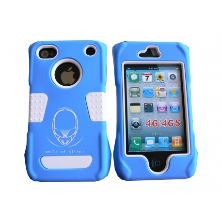 coque de protection bleue int grale rigide et incassable pour iphone 4. Black Bedroom Furniture Sets. Home Design Ideas