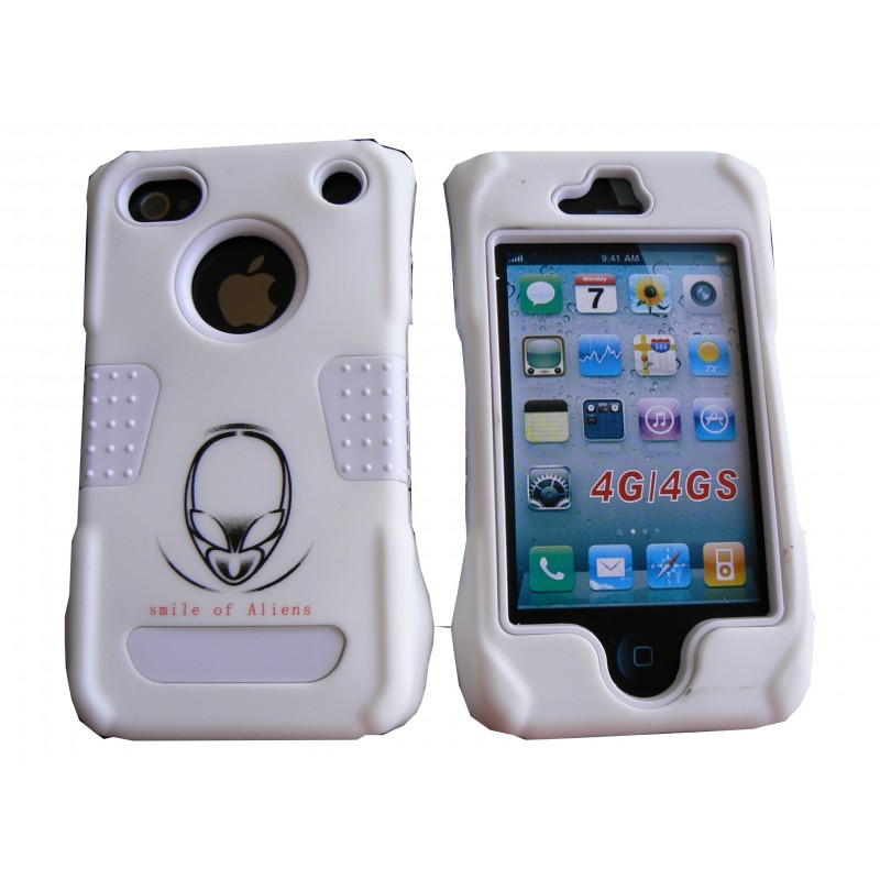 coque pour iphone 4 rigide int grale blanche incassable film protection cran offert accueil. Black Bedroom Furniture Sets. Home Design Ideas