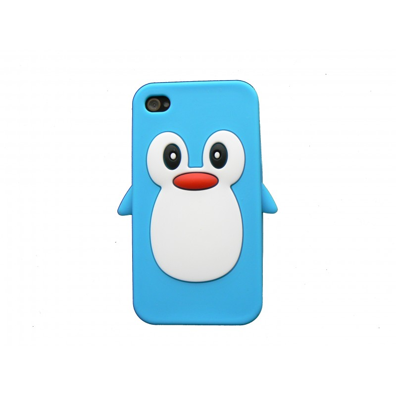 coque pour iphone 4 en silicone bleue motif pingouin film protection cran offert accueil. Black Bedroom Furniture Sets. Home Design Ideas