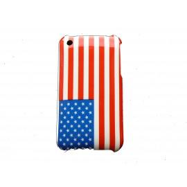 Coque rigide drapeau Etats-unis/USA pour Iphone 3 + film protection écran offert