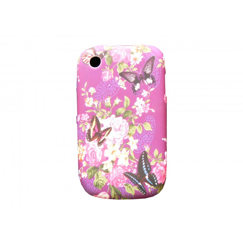 Coque silicone gel violette papillons pour blackberry 8520 for Housse pour blackberry curve