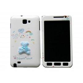Coque intégrale pour Samsung Galaxy Note I9220/N7000 ourson bleu+ film protection écran offert