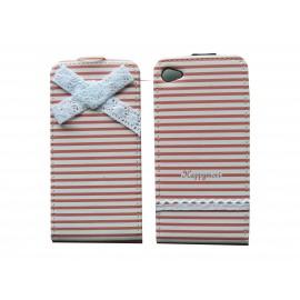 Pochette pour Iphone 4 en simili-cuir blanche à rayures roses  + film protection écran