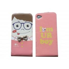 Pochette pour Iphone 4 en simili-cuir rose garçon lunette bleue  + film protection écran