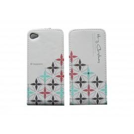 Pochette pour Iphone 4 en simili-cuir fleurs et strass  + film protection écran