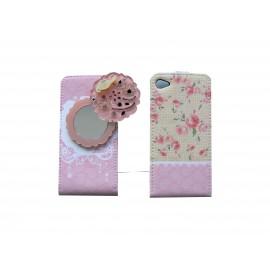 Pochette pour Iphone 4 en simili-cuir rose fleurs et miroir  + film protection écran