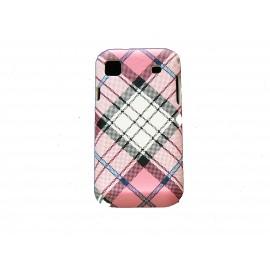 Coque pour Samsung I9000 mate à carreaux roses et blancs+ film protection écran offert