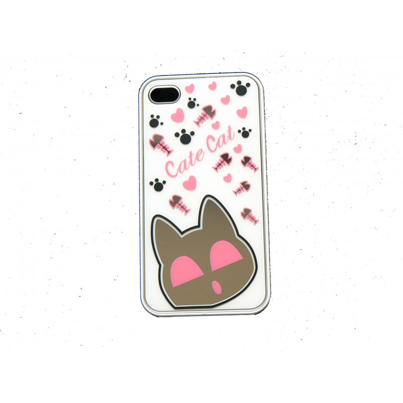 Coque pour iphone 4 brillante blanche avec un chat miroir for Application miroir pour iphone
