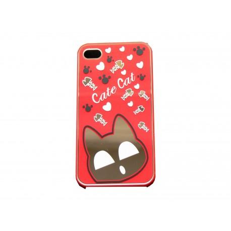 Coque pour iphone 4 brillante rouge avec un chat miroir for Miroir pc ecran