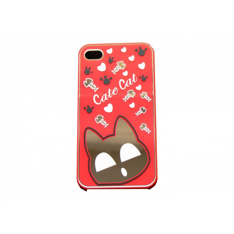 Coque pour iphone 4 brillante rouge avec un chat miroir for Coque iphone 5 miroir