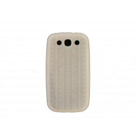 Coque pour Samsung Galaxy S3 / I9300 silicone blanche + film protection écran offert