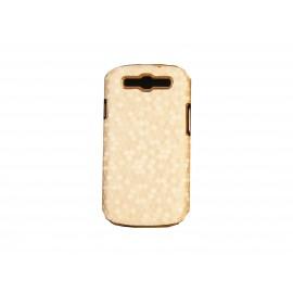 Coque pour Samsung I9300 Galaxy S3 beige pourtour or + film protection écran offert