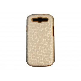 Coque pour Samsung I9300 Galaxy S3 argent pourtour or + film protection écran offert