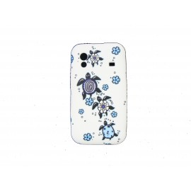 Coque  pour Samsung S5830 Galaxy Ace silicone blanche tortue bleue + film protection écran offert