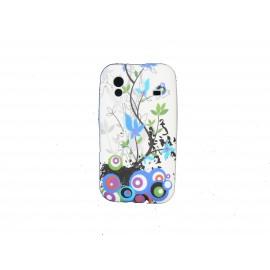 Coque pour Samsung S5830 Galaxy Ace silicone blanche fleurs bleues + film protection écran offert