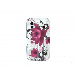 Coque pour Samsung S5830 Galaxy Ace silicone blanche fleurs roses + film protection écran offert