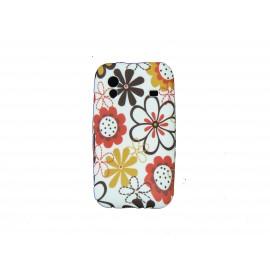 Coque pour Samsung S5830 Galaxy Ace silicone blanche fleurs marrons + film protection écran offert