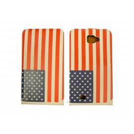 Pochette simili-cuir pour Galaxy Note/I9220 drapeau USA/Etats Unis + film protection écran