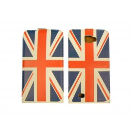 Pochette Etui simili-cuir pour Galaxy Note/I9220 drapeau UK/Angleterre + film protection écran