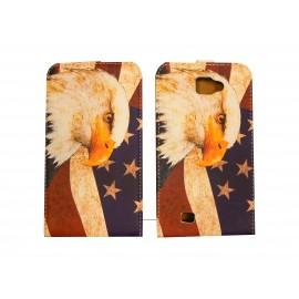 Pochette pour Galaxy Note/I9220 drapeau USA/Etats Unis aigle + film protection écran