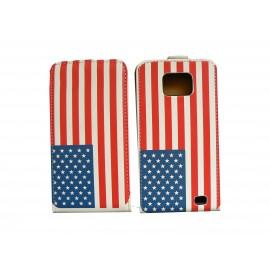 Pochette pour Samsung I9100 Galaxy S2 drapeau USA/Etats Unis + film protection écran