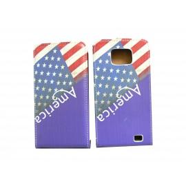 Pochette pour Samsung I9100 Galaxy S2 drapeau USA/Etats Unis bleue + film protection écran