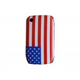 Coque rigide et brillante drapeau Etats Unis/USA pour Blackberry 8520 Curve  + film protection ecran offert