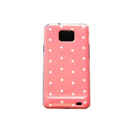 Coque rigide brillante pour Samsung I9100 Galaxy S2 rose à pois blancs + film protection ecran offert
