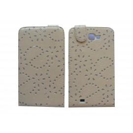 Pochette Etui simili-cuir beige pour Samsung Galaxy Note/I9220 fleurs avec strass + film protectin écran