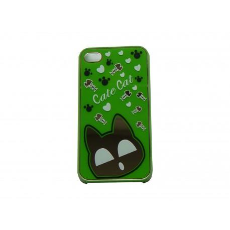 Coque pour iphone 4 brillante verte avec un chat miroir for Miroir pc ecran