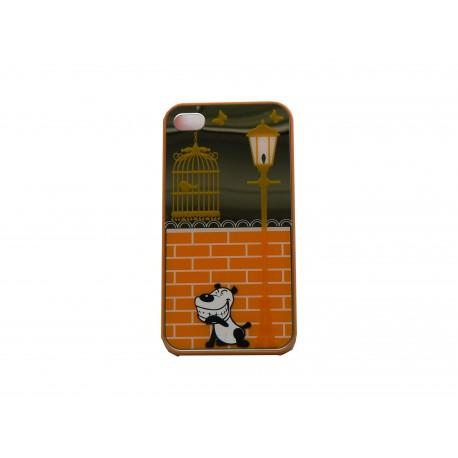 coque pour iphone 4 brillante orange et miroir petit chien. Black Bedroom Furniture Sets. Home Design Ideas