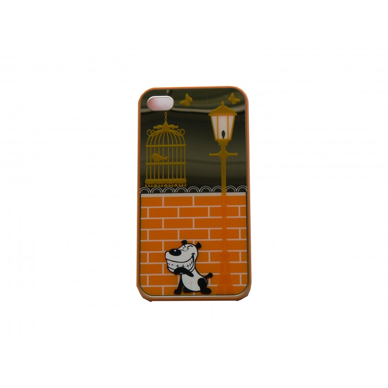 Coque pour iphone 4 brillante orange et miroir petit chien for Application miroir pour iphone