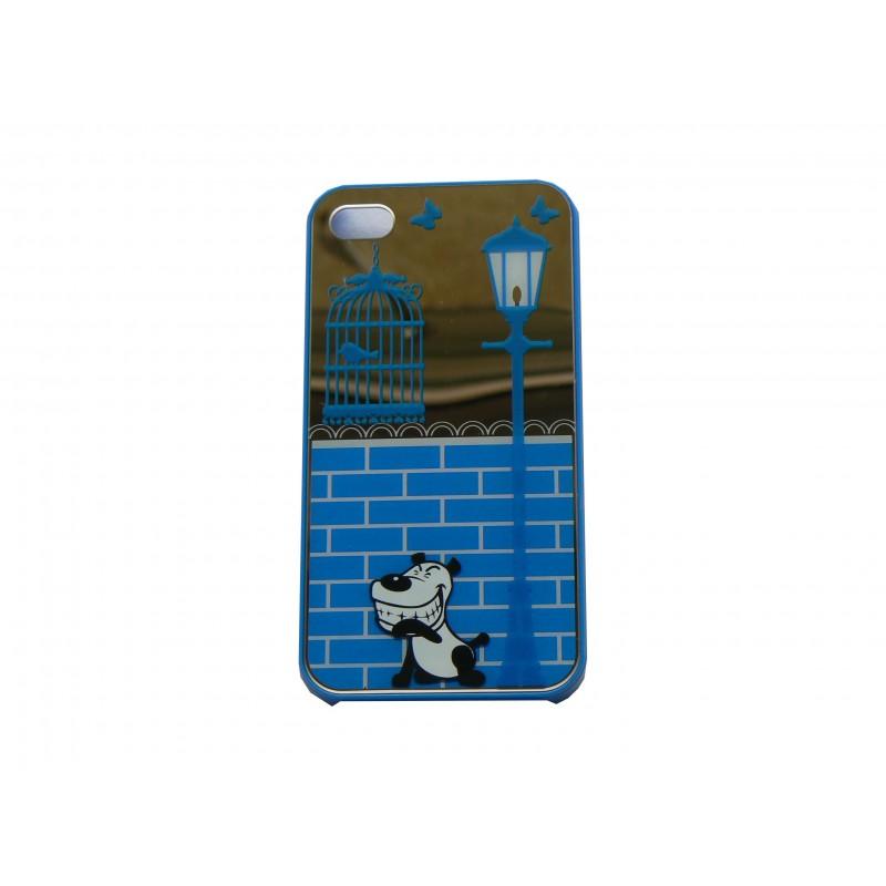 Coque Pour Iphone 4 Brillante Bleue Et Miroir Petit Chien
